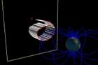 荷電粒子が地球へ向かって飛ぶと